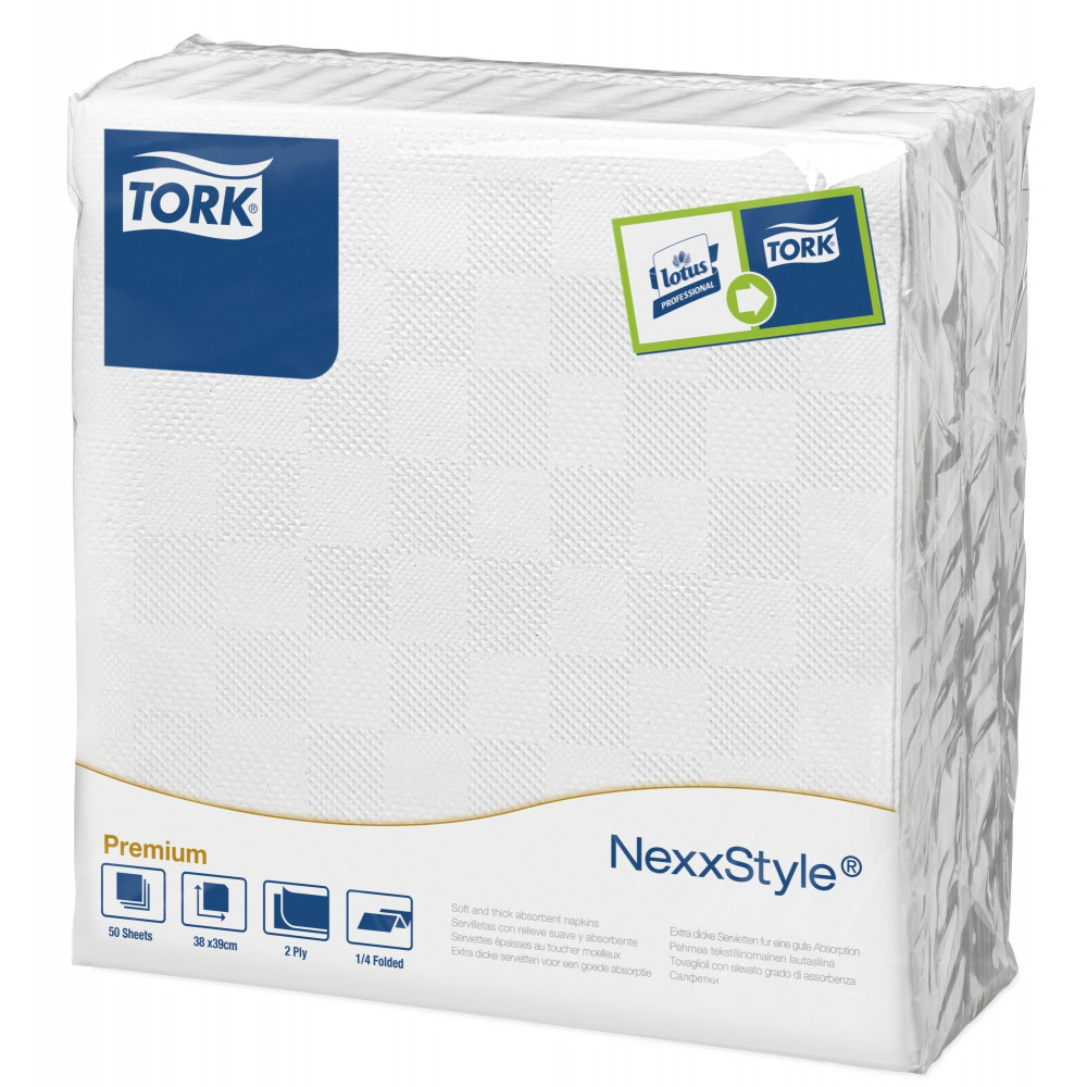 Tork Nexxstyle® biała serwetka obiadowa; EAN13: 3133200064521