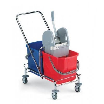 Wózek jednokomorowy TTS 2104 z wyciskarką  2x15L chrom